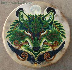 Green Wolf Bodhran by Sandra SanTara  http://windwolf.com