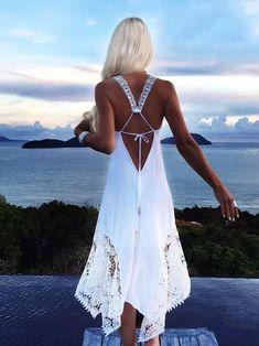 ae46ad91b8 New Lace Irregular Stitching Backless Boho Maxi Dress