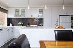Perfect for entertaining, this country-style kitchen renovation in Mooroolbark features clever storage ideas and layers of white to brighten the space. Kitchen Doors, Kitchen Cabinets, Country Kitchen Renovation, Quality Kitchens, Painted Doors, Kitchen Styling, The Hamptons, Kitchen Design, Satin