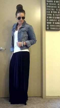 denim + white tee + maxi