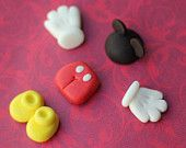 Fondant Toppers Disney Mickey Mouse Inspired - Mickey in Parts - Very cute...