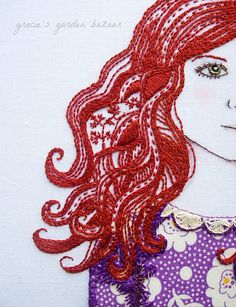 detail of embroidered hair by Gracie's Garden Bazaar, via Flickr