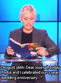 ellen degeneres funny gif - Google Search The Ellen Show, Ellen Degeneres, Funny Gifs, Wedding Anniversary, Watch, Google Search, Tv, Celebrities, Youtube