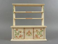 TYNIETOY Vintage China Cabinet Hutch Ornate Painted White Tynie Toy Dollhouse