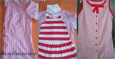 Cómo hacer un vestido de niña a partir de una camisa Diy Clothes, Two Piece Skirt Set, Sewing, Skirts, Bb, Dresses, Fashion, Simple Gowns, Tela