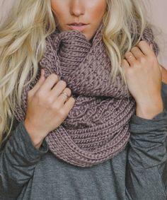 Mocha Oversize Chunky Knit Infinity Scarf - Women