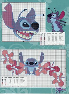 Lilo e Stitch Disney Stitch, Disney Cross Stitch Kits, Lilo Ve Stitch, Counted Cross Stitch Patterns, Cross Stitch Charts, Cross Stitch Designs, Cross Stitch Embroidery, Stitch Cartoon, Perler Bead Art