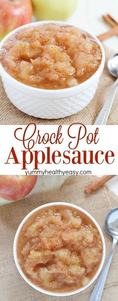 Homemade Crock Pot Applesauce is the perfect way to celebrate fall! This applesauce recipe is so simple and uses up all of those extra apples you have sitting around. Easy, only 5 ingredients, and inc (Apple Recipes Crockpot) Apple Recipes Homemade, Healthy Apple Sauce Recipes, Easy Apple Sauce, Homemade Food, Crock Pot Cooking, Cooking Recipes, Cooking Tips, Pie Recipes, Recipies