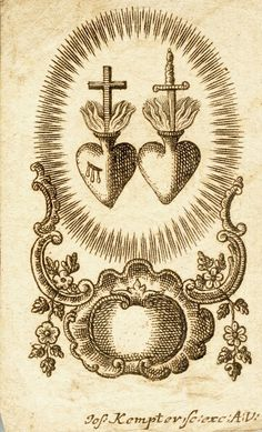 A German engraving of the Sacred Hearts of Jesus and Mary, 18th century.
