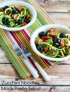 This Zucchini Noodle Mock Pasta Salad is a perfect healthy option for a summer holiday party.  This salad had all the flavors in my favorite pasta salad without the carbs!  (Low-Carb, Gluten-Free) [[from KalynsKitchen.com]