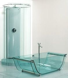 Crazy: glass tub and shower.