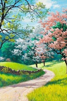 ▷ 1001 + spring wallpaper images for your phone and desktop computer blooming trees, along a pathway, spring background images, phone wallpaper, green grass fields Fantasy Landscape, Landscape Art, Landscape Paintings, Nature Paintings, Scenery Paintings, Spring Landscape, Beautiful Landscape Wallpaper, Beautiful Landscapes, Beautiful Images
