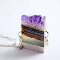 Amethyst Slice and Sterling Silver Necklace - OOAK. by MarKhed (etsy) http://www.etsy.com/shop/MarKhed #jewelry #gemstones #amethyst