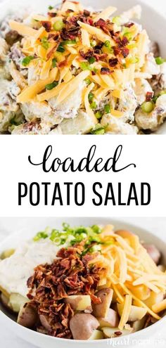 Loaded Potato Salad - Filled with potatoes, bacon, shredded cheese, green onions and a delicious creamy dressing. A fun twist on the classic potato salad that tastes like a loaded baked potato in salad form. #potatoes #potatorecipes #potatosalad #bacon #cheese #summer #summerrecipes #potluck #potluckrecipe #potluckfood #recipes #iheartnaptime