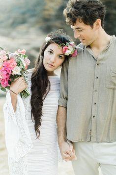 bohemian beach wedding with flower mohawk Bohemian Beach Wedding, Beach Wedding Flowers, Hawaii Wedding, Hairdo Wedding, Wedding Hairstyles, Bridal Shoot, Wedding Themes, Wedding Ideas, Wedding Hair Accessories