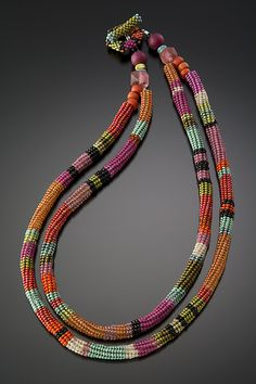 Anasazi Necklace, Hibiscus by Julie Powell (Beaded Necklace) Seed Bead Necklace, Seed Bead Jewelry, Beaded Necklace, Beaded Bracelets, Seed Beads, Julie Powell, Herringbone Necklace, Herringbone Stitch, Seed Bead Projects