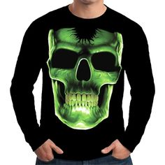 Velocitee Mens Long Sleeve T Shirt Evil Green Skull Grim Death Horror A10286 #Velocitee