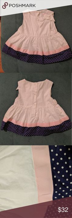 J&J Ribbon Dot Trim Dress Features a bow at front side of neckline, ribbon and polka dot trim, button back detail and a soft lining.   100% cotton.  Only imperfection is some slight pulling in the ribbon. See third picture. Janie and Jack Dresses Casual