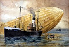 1916 04 01 Zeppelin sinking The commander of the was Kapitanleutnant Joachim Breithaupt. On the March 1916 (note date!), at hours, the received a direct hit from the AA gun at Purfleet, Essex.The AA shell damaged four of the. Steampunk Airship, Dieselpunk, Boat Painting, Watercolour Painting, Flanders Field, Military Art, Military History, Art Deco Posters, Nautical Art