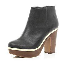 Black metal trim platform ankle boots $50.00