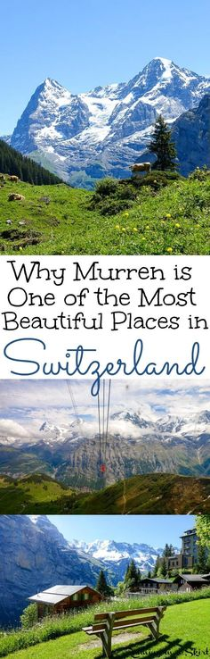 Why Murren Switzerland is one of the most beautiful places in the world.  Includes things to do in summer for these bucket lists trips... including hiking, Piz Gloria and the Schilthorn and nearby adventure in the Berner Oberland.  Plus a top hotel and restaurant for your travel.  This place is an unreal location in the Alps Switzerland! / Running in a Skirt