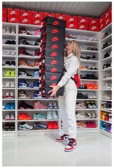 Shoe Room, Shoe Wall, Shoe Closet, Jordan Shoes Girls, Jordan Outfits, Sneakers Fashion, Shoes Sneakers, Jordan Sneakers, Adidas Sneakers