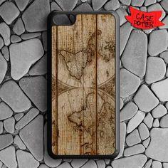 Old World Map Wood iPhone 5C Black Case