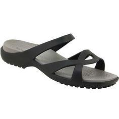 46aa1d0c76cc78 Crocs Meleen Twist Slide Sandals - Womens Black Smoke Rogan s Shoes
