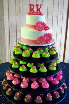 with a color change and flower change this isnt a bad idea-- you get the wedding cake to cut and the cupcakes.