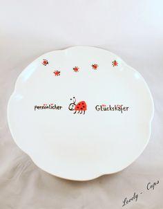 persönlicher Deko Teller,Glücks-Käfer, Keksteller, von Lovely-Cups auf DaWanda.com