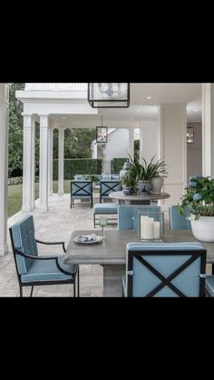 Beautiful colors and style in this outdoor space, but somewhat too staged