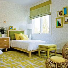 """Pair yellow with citrusy greens that take the edge off the brighter shade without stealing its thunder. """"Colors in the same family have a complimentary, rather than competitive, effect,"""" says designer Amy Lau."""