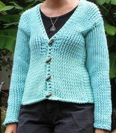 A sweater made on a Knifty Knitter round loom set - free instructions