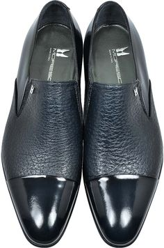 MORESCHI Metz Blue Leather Slip on Loafer #MensFashionShoes