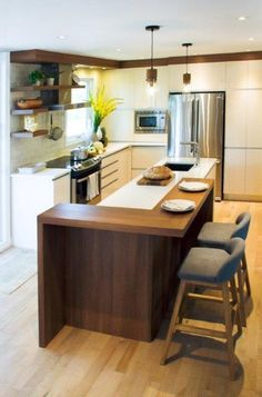 One of the Most Neglected Systems for Contemporary Kitchen That Makes a Great Party Space - targetinspira Open Plan Kitchen Living Room, Home Decor Kitchen, Interior Design Kitchen, Kitchen Furniture, New Kitchen, Home Kitchens, Cuisines Design, Küchen Design, Kitchen Remodel