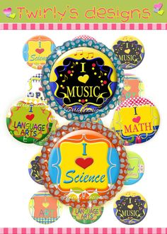 """INSTANT DOWNLOAD School Subjects 1"""" bottle cap images - 4 X 6 Digital Collage sheet for necklace, bracelet, key chain and hair bow center on Etsy, $1.50"""