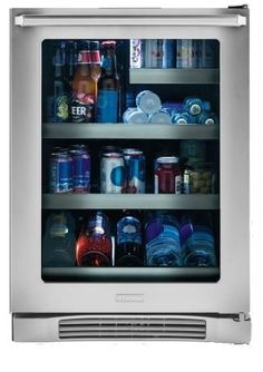 """Electrolux 24"""" Under-Counter Beverage Center-Stainless Steel with 46 bottle capacity, LUXURY-GLIDE® shelves and PERFECT SET® temperature control.  See it here: http://www.bobmillers.com/appliances/refrigeration/refrigerators/beverage-center/electrolux-beverage-center-ei24bc10qs.html"""