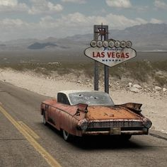 Leaving Las Vegas in a Ghost 59 Cadillac Route 66, Rat Hod, Pompe A Essence, Fallout New Vegas, Fallout 3, Rusty Cars, Abandoned Cars, Old Trucks, Old Cars