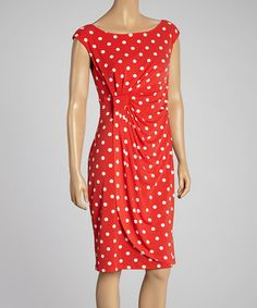 Red & White Polka Dot Gathered Dress #zulily #zulilyfinds