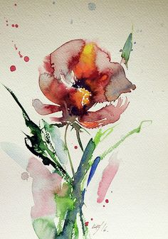 Flower Painting - Wild Flower by Kovacs Anna Brigitta Watercolor Pictures, Watercolor Artists, Abstract Watercolor, Watercolor Paintings, Watercolors, Abstract Flowers, Watercolor Flowers, Flower Art, Wild Flowers