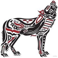 The Melody - Pacific Northwest Coast Art, Native American Art, Haida Tlingit Wolf, Alaska Art Decor - RED Native American Animals, Native American Tattoos, Native Tattoos, Native American Symbols, Native American Design, American Indian Art, Native American Drawing, Native Symbols, Native American Paintings