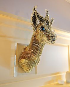THE ARTWORK A mounted deer's head by contemporary artist Kohei Nawa hangs in a room off the main foyer. Jessica purchased the piece at the Frieze Art Fair.