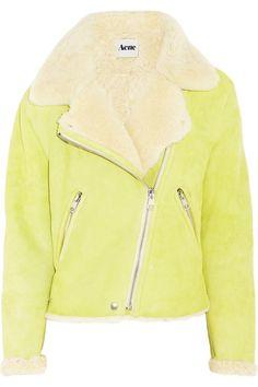 Acne's fluorescent-bright Rita shearling biker jacket