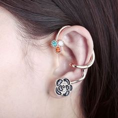 black rose ear wrap cuff earring. Yes I want it!!