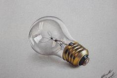Lightbulb realistic drawing