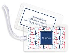Blue Happy Anchors Luggage Tags