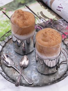 Vanilla Dalgona Whipped Coffee Topped with Cinnamon