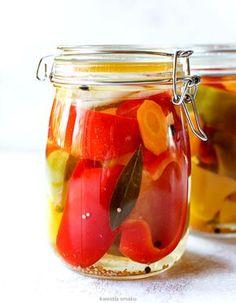 Papryka konserwowa Food Jar, Canning Recipes, Preserves, Pickles, Food And Drink, Honey, Homemade, Meals, Vegetables