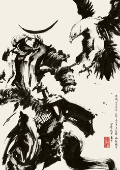 Date Masamune and falcon -イメージ 1 Ronin Samurai, Samurai Warrior, Ink Illustrations, Illustration Art, Samurai Artwork, Samurai Tattoo, Art Japonais, Art Graphique, Expo
