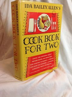 1957 Vtg Ida Bailey Allen's Cookbook For Two with by SummerSalvage